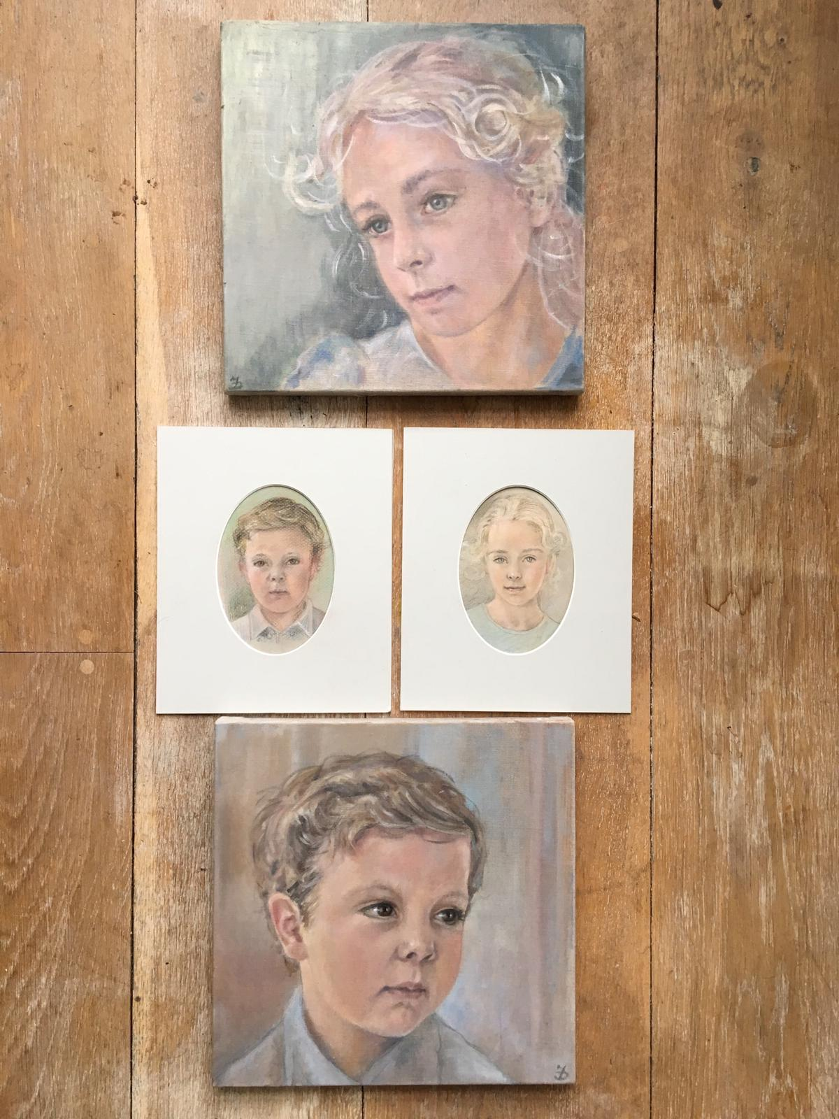 Finished family portraits in pastel