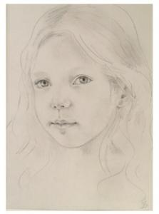 young girl in pencil drawing