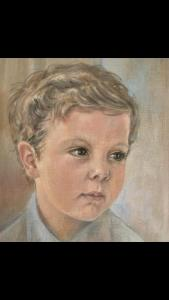 boy drawing in pastel