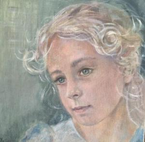 girl drawing in pastel