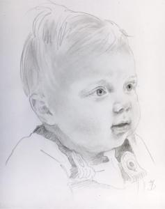 Baby in charcoal