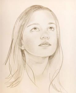 Drawing of young girl looking up