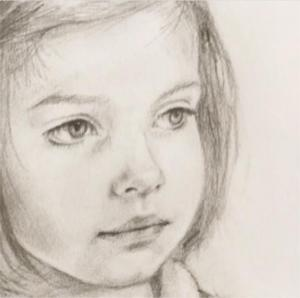 Young girl charcoal