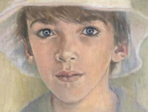 Boy drawn in pastel
